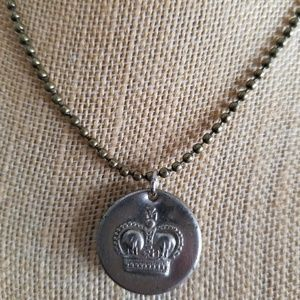 Crown vintage coin necklace